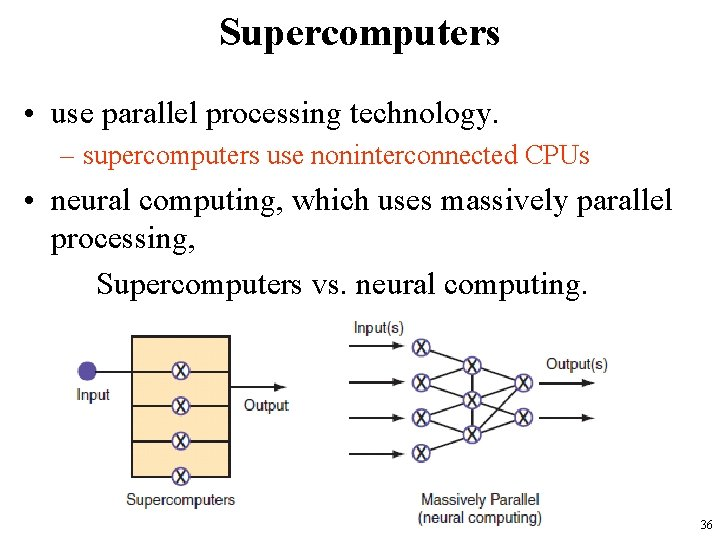 Supercomputers • use parallel processing technology. – supercomputers use noninterconnected CPUs • neural computing,