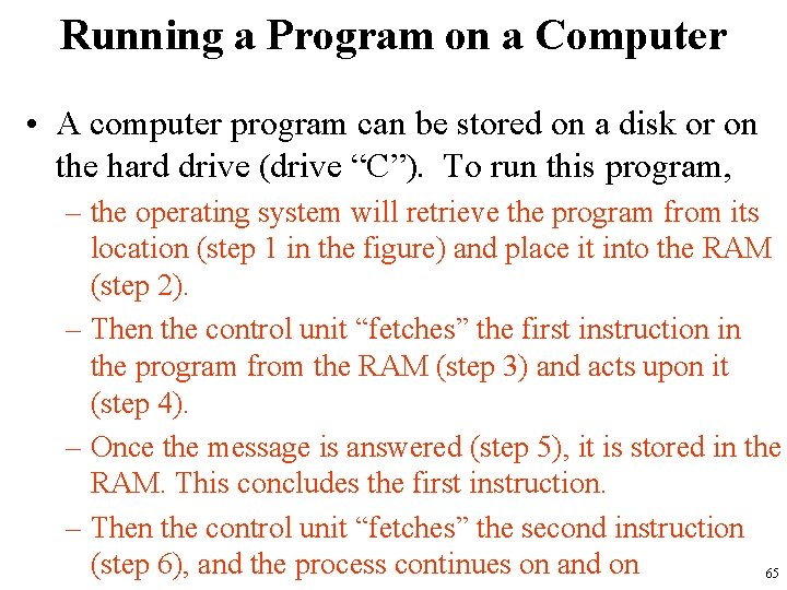 Running a Program on a Computer • A computer program can be stored on