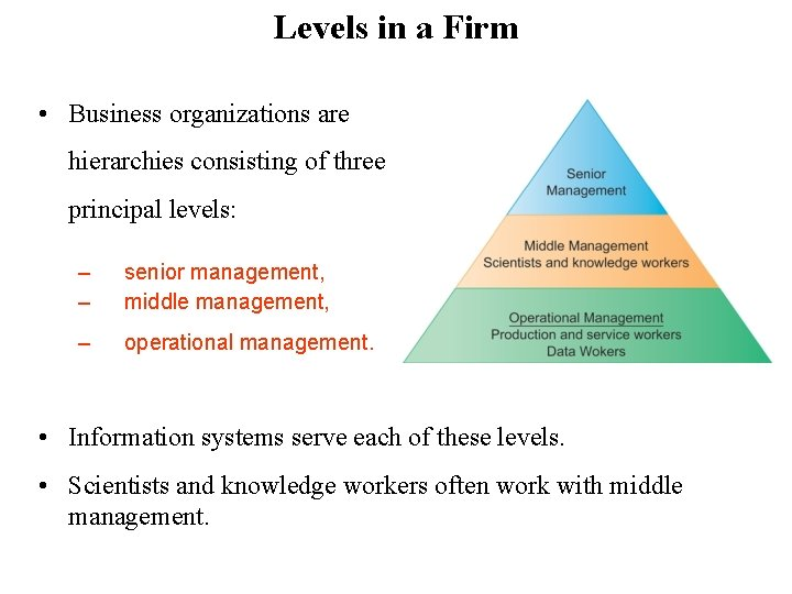 Levels in a Firm • Business organizations are hierarchies consisting of three principal levels: