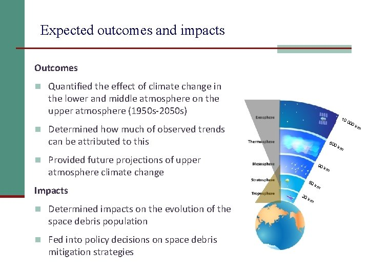 Expected outcomes and impacts Outcomes n Quantified the effect of climate change in the