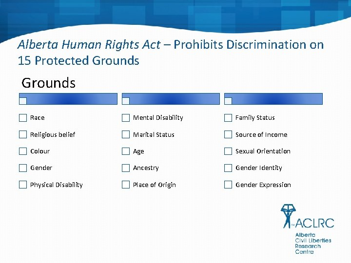 Alberta Human Rights Act – Prohibits Discrimination on 15 Protected Grounds Race Mental Disability