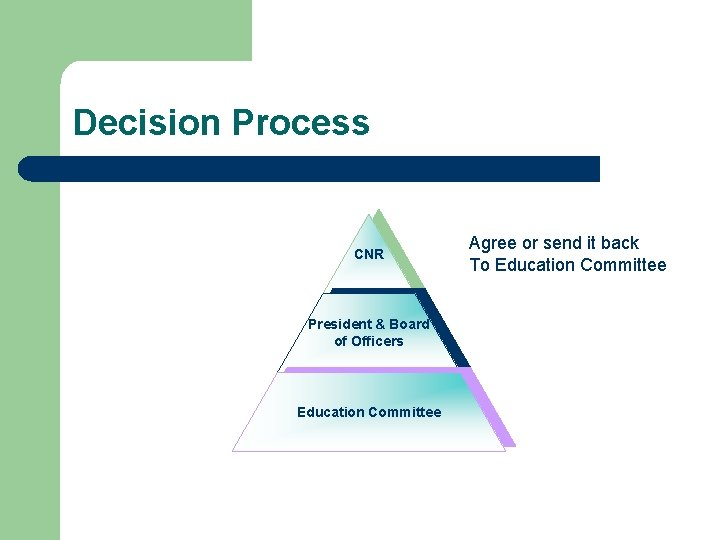 Decision Process CNR President & Board of Officers Education Committee Agree or send it