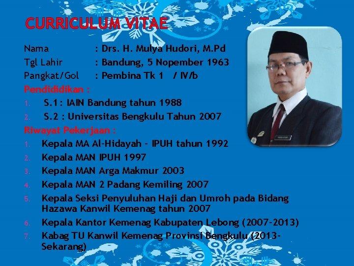 CURRICULUM VITAE Nama : Drs. H. Mulya Hudori, M. Pd Tgl Lahir : Bandung,