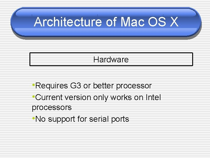 Architecture of Mac OS X Hardware • Requires G 3 or better processor •