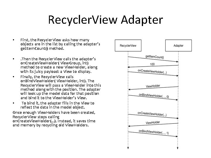 Recycler. View Adapter • First, the Recycler. View asks how many objects are in