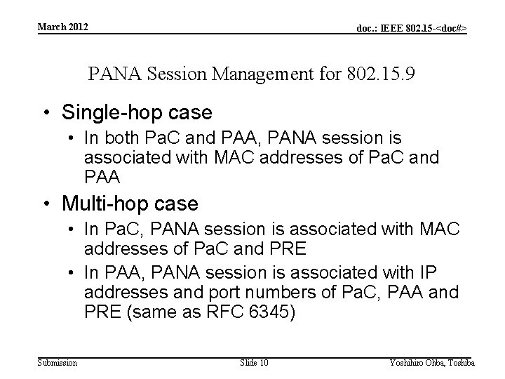March 2012 doc. : IEEE 802. 15 -<doc#> PANA Session Management for 802. 15.