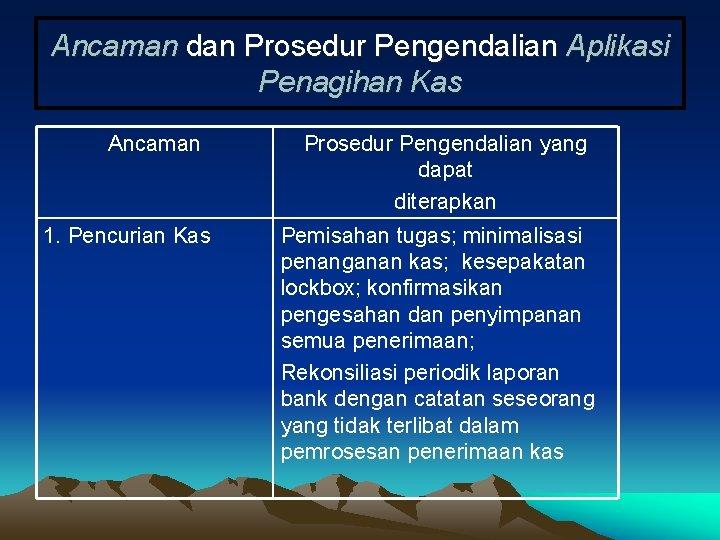 Ancaman dan Prosedur Pengendalian Aplikasi Penagihan Kas Ancaman 1. Pencurian Kas Prosedur Pengendalian yang