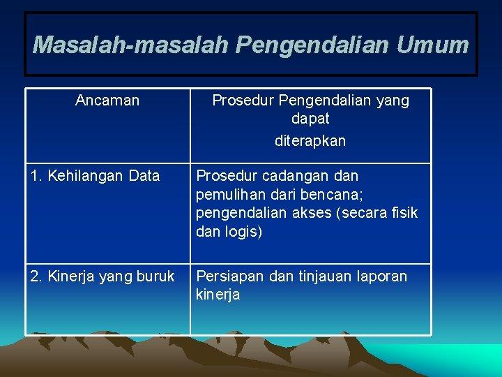 Masalah-masalah Pengendalian Umum Ancaman Prosedur Pengendalian yang dapat diterapkan 1. Kehilangan Data Prosedur cadangan