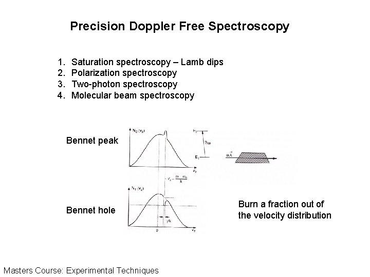 Precision Doppler Free Spectroscopy 1. 2. 3. 4. Saturation spectroscopy – Lamb dips Polarization