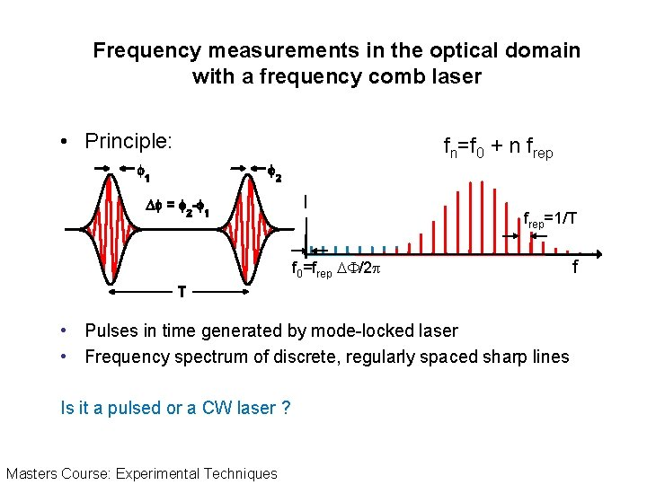Frequency measurements in the optical domain with a frequency comb laser • Principle: fn=f