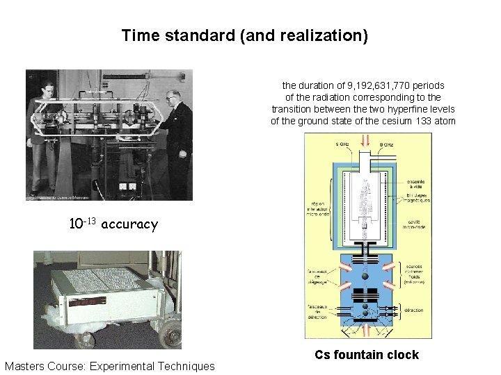 Time standard (and realization) the duration of 9, 192, 631, 770 periods of the