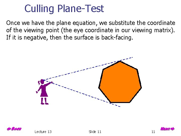Culling Plane-Test Once we have the plane equation, we substitute the coordinate of the