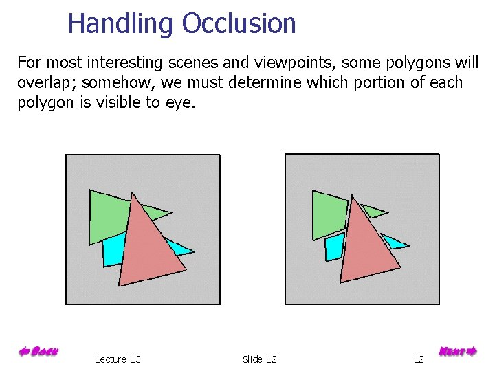 Handling Occlusion For most interesting scenes and viewpoints, some polygons will overlap; somehow, we