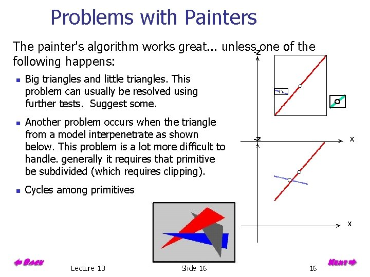 Problems with Painters The painter's algorithm works great. . . unless one of the