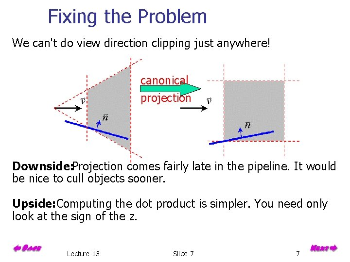 Fixing the Problem We can't do view direction clipping just anywhere! canonical projection Downside: