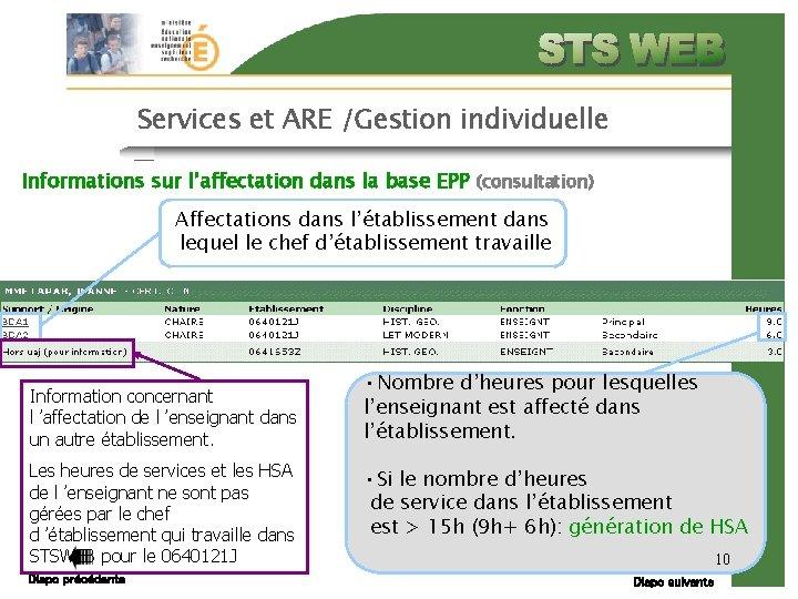 Services et ARE /Gestion individuelle Informations sur l'affectation dans la base EPP (consultation) Affectations