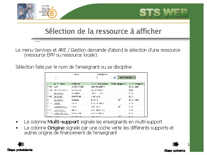 Sélection de la ressource à afficher Le menu Services et ARE / Gestion demande