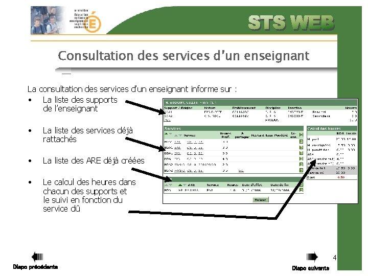Consultation des services d'un enseignant La consultation des services d'un enseignant informe sur :