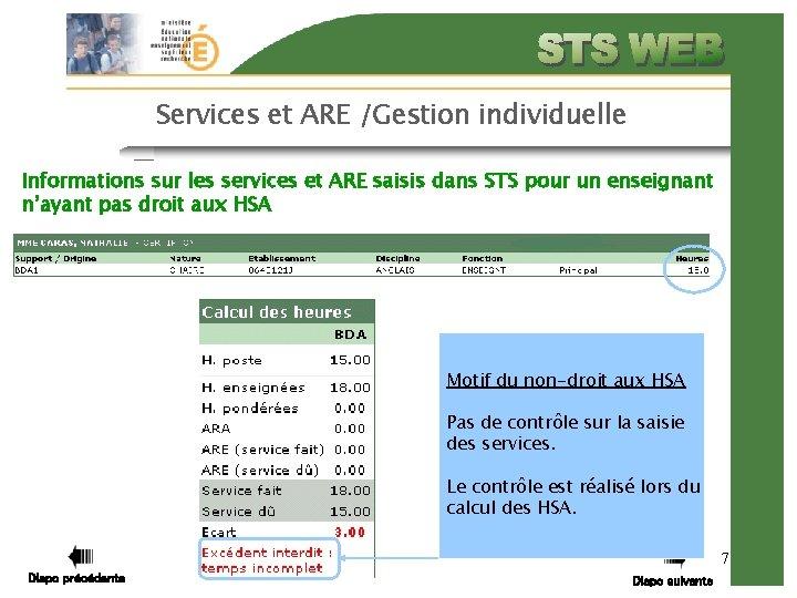 Services et ARE /Gestion individuelle Informations sur les services et ARE saisis dans STS