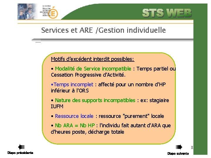 Services et ARE /Gestion individuelle Motifs d'excédent interdit possibles: • Modalité de Service incompatible