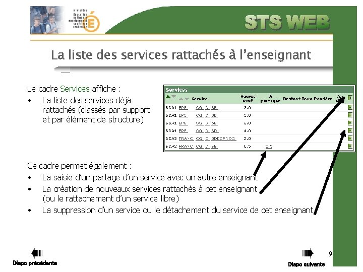 La liste des services rattachés à l'enseignant Le cadre Services affiche : • La