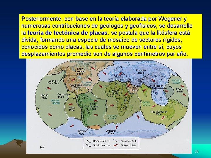 Posteriormente, con base en la teoría elaborada por Wegener y numerosas contribuciones de geólogos