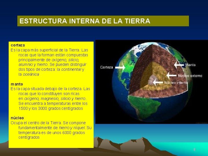 ESTRUCTURA INTERNA DE LA TIERRA corteza Es la capa más superficial de la Tierra.