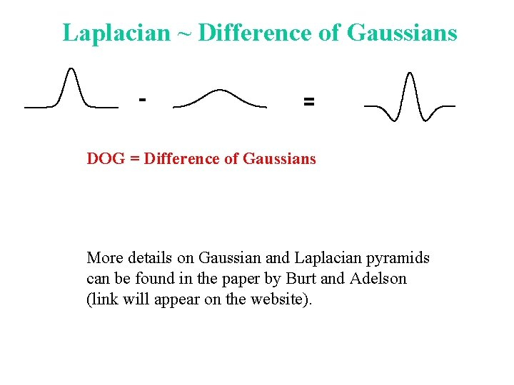 Laplacian ~ Difference of Gaussians - = DOG = Difference of Gaussians More details