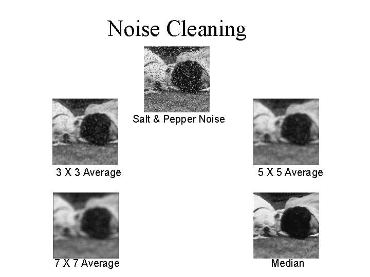Noise Cleaning Salt & Pepper Noise 3 X 3 Average 5 X 5 Average