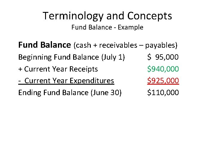 Terminology and Concepts Fund Balance - Example Fund Balance (cash + receivables – payables)