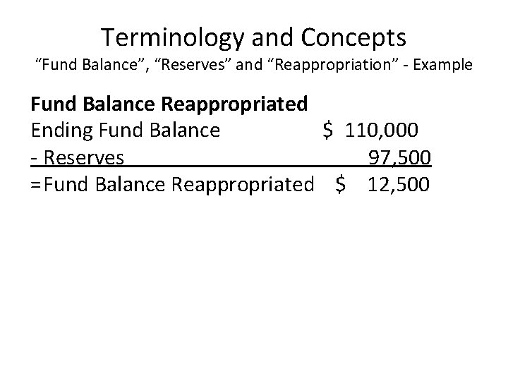 """Terminology and Concepts """"Fund Balance"""", """"Reserves"""" and """"Reappropriation"""" - Example Fund Balance Reappropriated Ending"""
