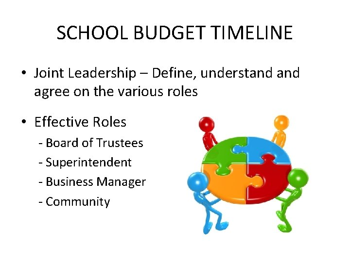 SCHOOL BUDGET TIMELINE • Joint Leadership – Define, understand agree on the various roles