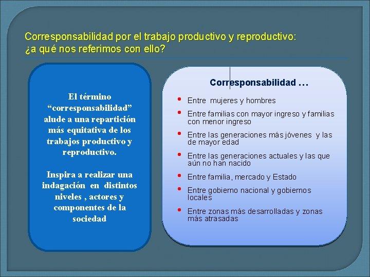 Corresponsabilidad por el trabajo productivo y reproductivo: ¿a qué nos referimos con ello? Corresponsabilidad