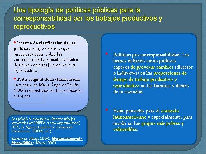 Una tipología de políticas públicas para la corresponsabilidad por los trabajos productivos y reproductivos
