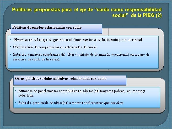 """Políticas propuestas para el eje de """"cuido como responsabilidad social"""" de la PIEG (2)"""