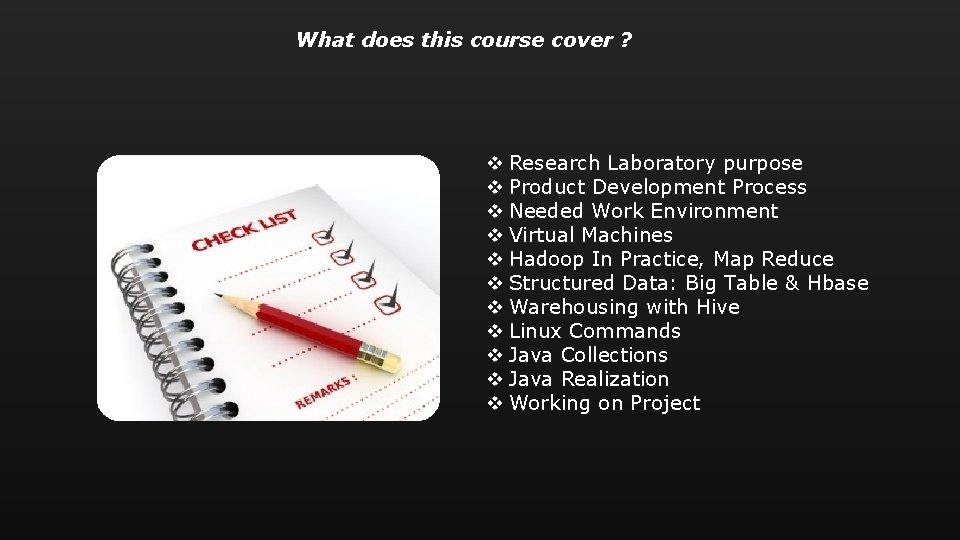 What does this course cover ? v Research Laboratory purpose v Product Development Process