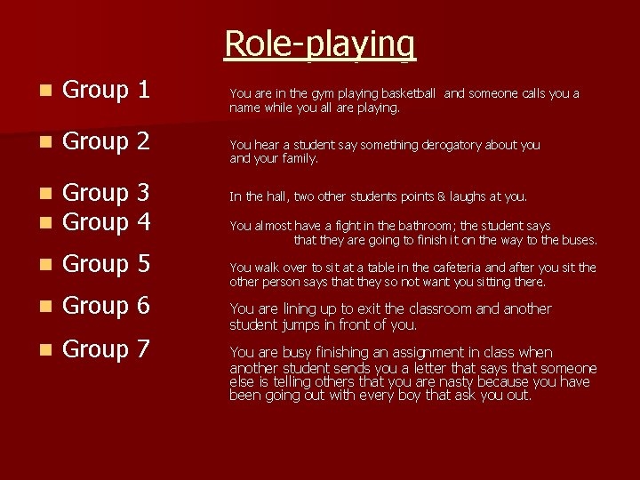 Role-playing n Group 1 n Group 2 n n Group 3 Group 4 n