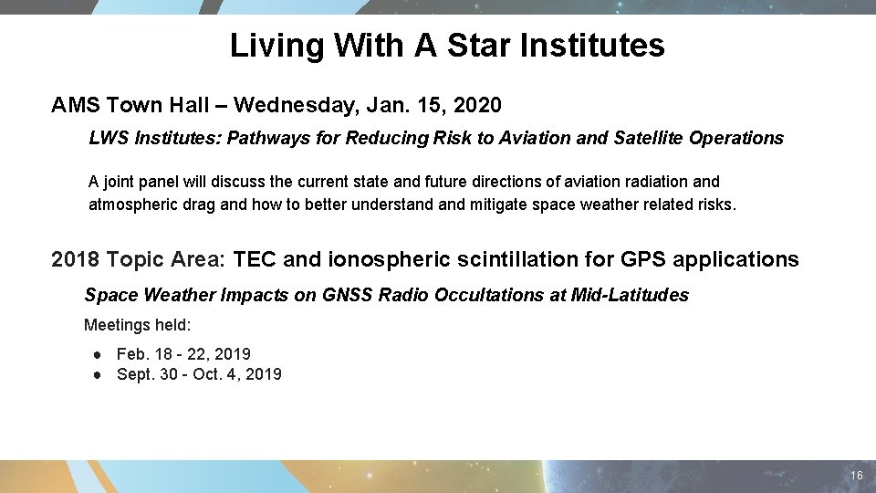 Living With A Star Institutes AMS Town Hall – Wednesday, Jan. 15, 2020 LWS
