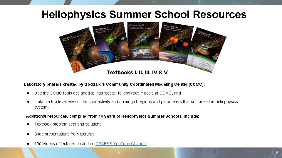 Heliophysics Summer School Resources Textbooks I, III, IV & V Laboratory primers created by