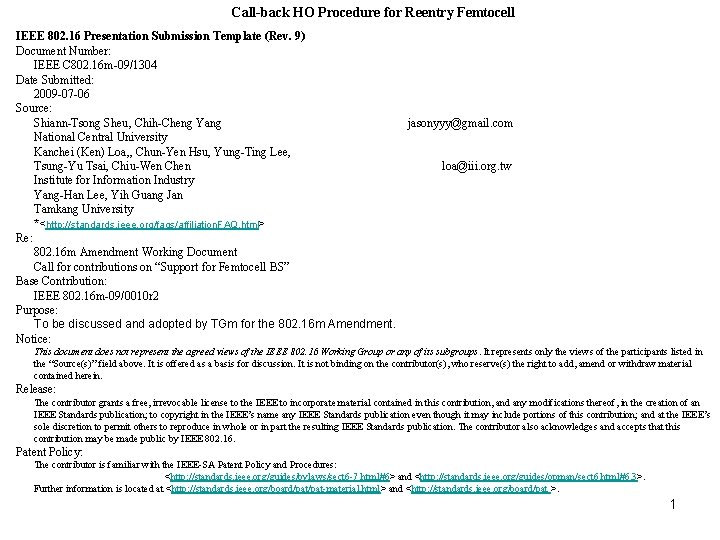 Call-back HO Procedure for Reentry Femtocell IEEE 802. 16 Presentation Submission Template (Rev. 9)