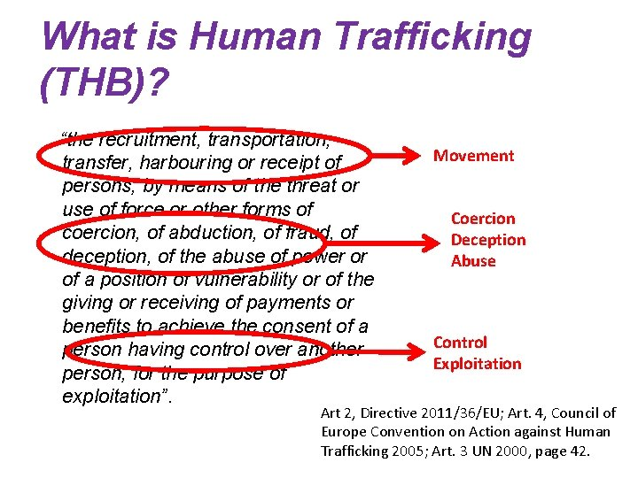 """What is Human Trafficking (THB)? """"the recruitment, transportation, transfer, harbouring or receipt of persons,"""