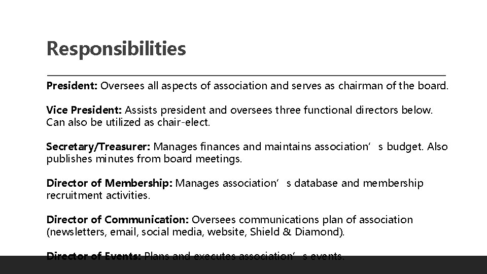 Responsibilities President: Oversees all aspects of association and serves as chairman of the board.