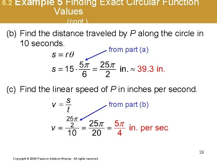 6. 2 Example 5 Finding Exact Circular Function Values (cont. ) (b) Find the