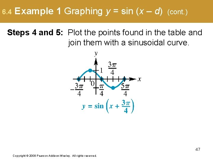 6. 4 Example 1 Graphing y = sin (x – d) (cont. ) Steps