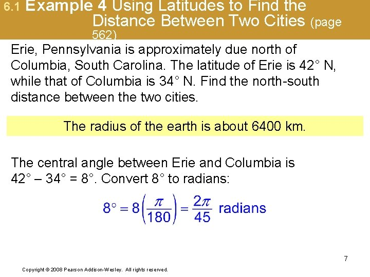 6. 1 Example 4 Using Latitudes to Find the Distance Between Two Cities (page