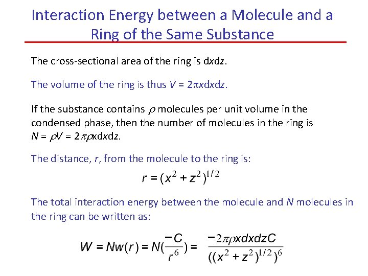 Interaction Energy between a Molecule and a Ring of the Same Substance The cross-sectional