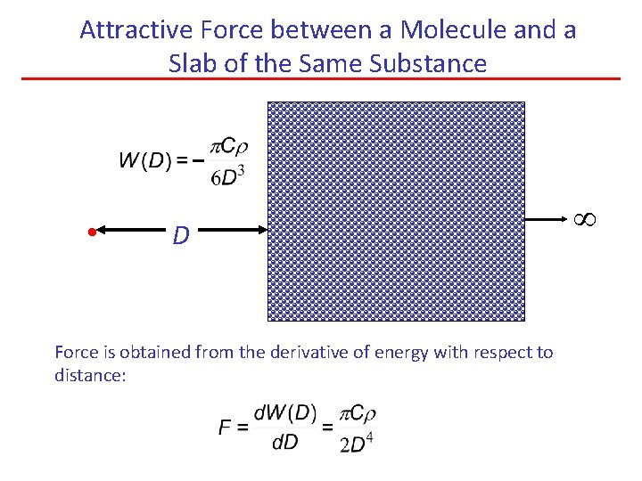 Attractive Force between a Molecule and a Slab of the Same Substance • D