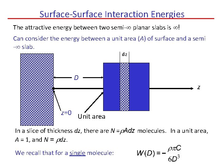 Surface-Surface Interaction Energies The attractive energy between two semi- planar slabs is ! Can