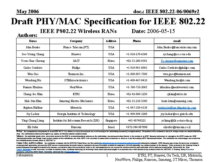 May 2006 doc. : IEEE 802. 22 -06/0069 r 2 Draft PHY/MAC Specification for