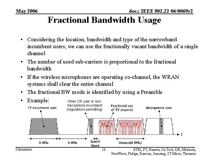 May 2006 doc. : IEEE 802. 22 -06/0069 r 2 Fractional Bandwidth Usage •